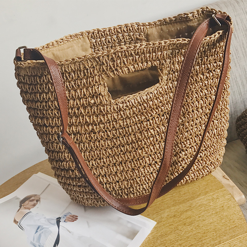 Straw Bag Woven Handbags Shoulder Messenger Bag Women Handbag Leisure Vacation Beach Bag Summer