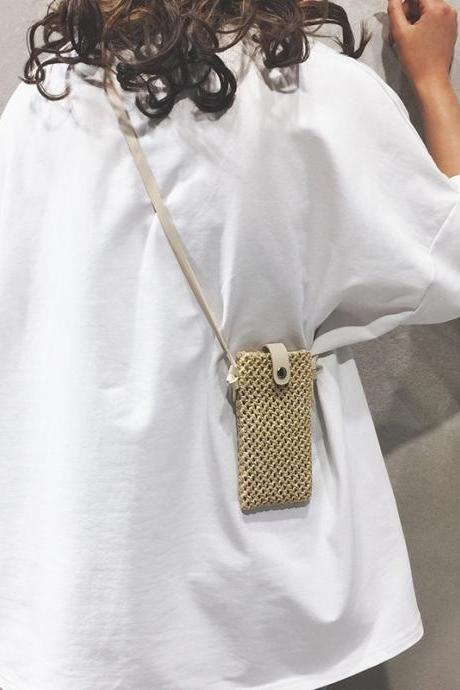 Woven Pouch Handbag 2019 Solid Color Mini Mobile Phone Straw Bag Shoulder Messenger Bag