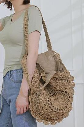Wind Round Straw Bag Temperament Flower Hand-Woven Women Bag Temperament Holiday Beach Bag