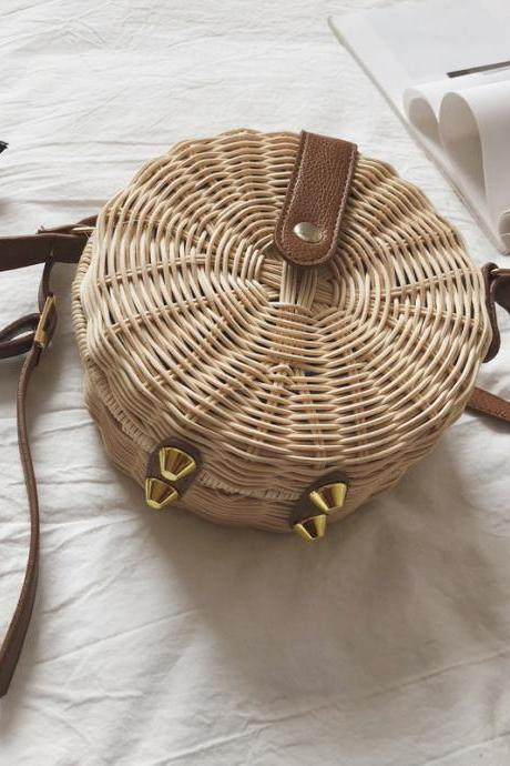 Straw Bag Beach Round Woven Handbag 2019 Small Bag Shoulder Slung Vine Bag