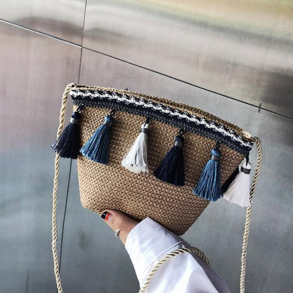 Small Bag Women 2019 On Small Fresh Simple Messenger Bag Harajuku Fringed Straw Beach Bag